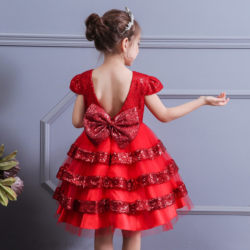 Ball Gow Flourished Girls Wedding Dress Multi-layer Sequin Open Back Bow Princess Dress Baby Costume First Communion Dresses