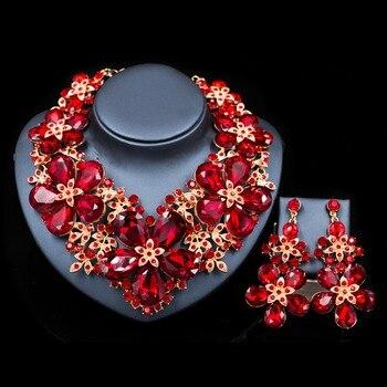 LAN дворец 2018 новые подарки для женщин Свадебные украшения набор из австрийского хрусталя ожерелье и серьги Бесплатная доставка