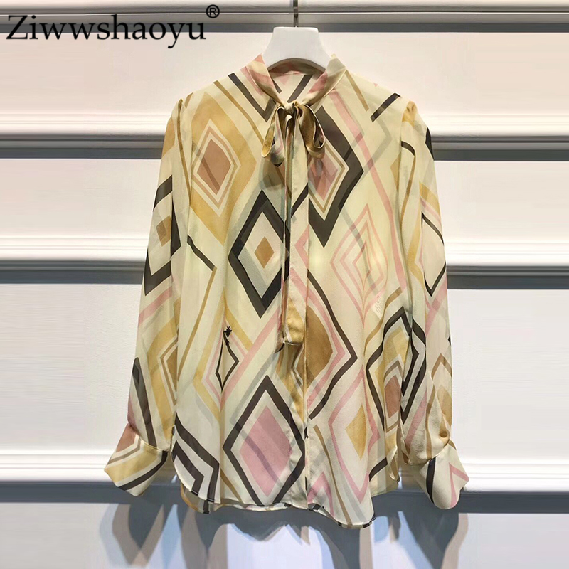 Ziwwshaoyu Autumn Silk shirts O Neck Geometric Print Bow temperament Slim shirt New women's