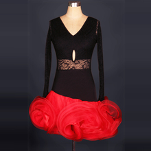 Latin dance costume sexy long sleeves lace latin dance dress for women latin dance competition dresses