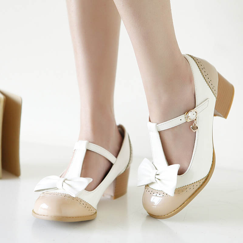 Mixed Colors Round Toe Sweet Various font b Womens b font High Beige Strappy Heels Lolita