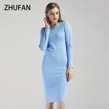 a574c05deb ZHUFAN Kobiety Elegancka Sukienka Jesień Z Długim Rękawem O-Neck Bodycon  Light Blue Szary Bawełna