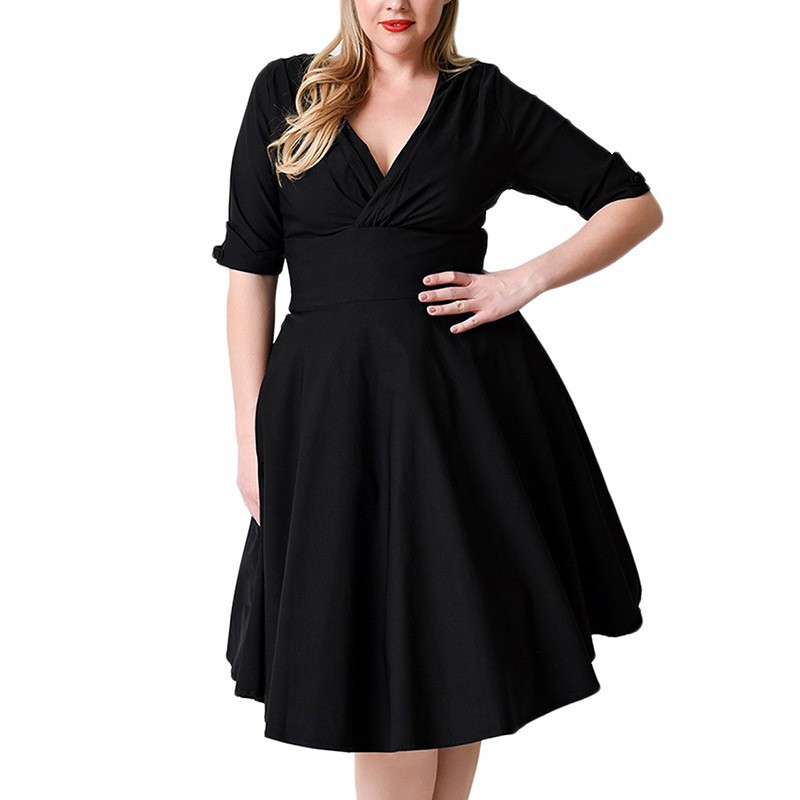 Women Big <font><b>Size</b></font> Casual Party <font><b>Dresses</b></font> 2018 Summer Elegant Stretchy Half Sleeve V-neck <font><b>Plus</b></font> <font><b>Size</b></font> 7XL <font><b>8XL</b></font> 1950s Retro Swing <font><b>Dress</b></font> image