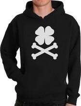 Clover & Crossbones Irish Pride St. Patricks Hoodie Shamrock Unique Sweatshirt Funny Unisex Hoodie-Z102