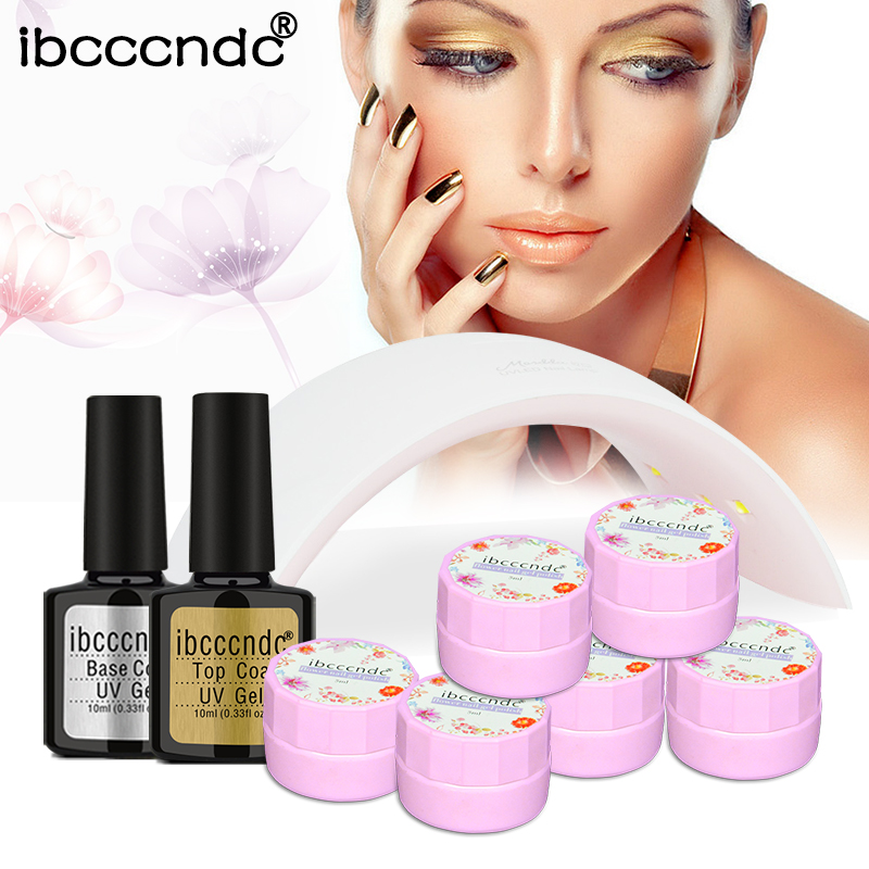 Nail Art Tools 24W LED Lamp 6x5ml Soak Off UV Flower Fairy Gel Nail Polish Base Gel Top Coat Varnish Manicure Nail Glue Lak Set nail art manicure tools set uv lamp 10 bottle soak off gel nail base gel top coat polish nail art manicure sets