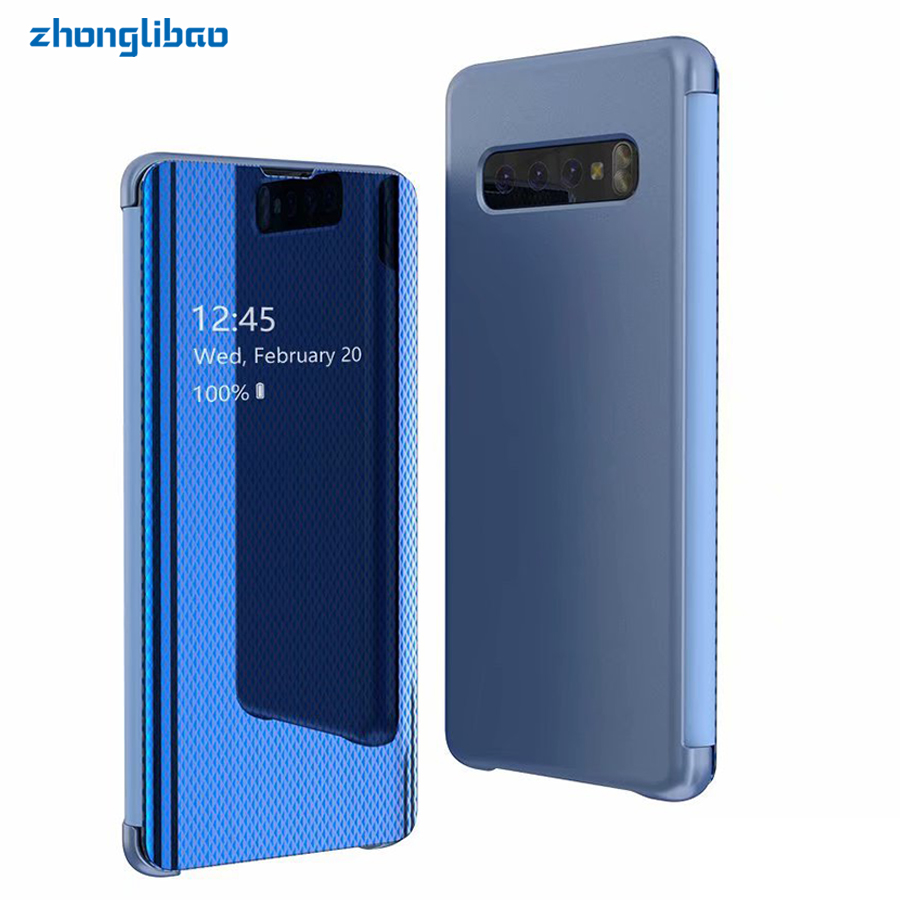 casing A30 A50 A70 2019 Clear View <font><b>Flip</b></font> <font><b>Case</b></font> for <font><b>Samsung</b></font> <font><b>S10</b></font> S9 S8 Plus S10e Note 9 8 S7 Edge A750 A7 2018 Luxury <font><b>Mirror</b></font> Cover image
