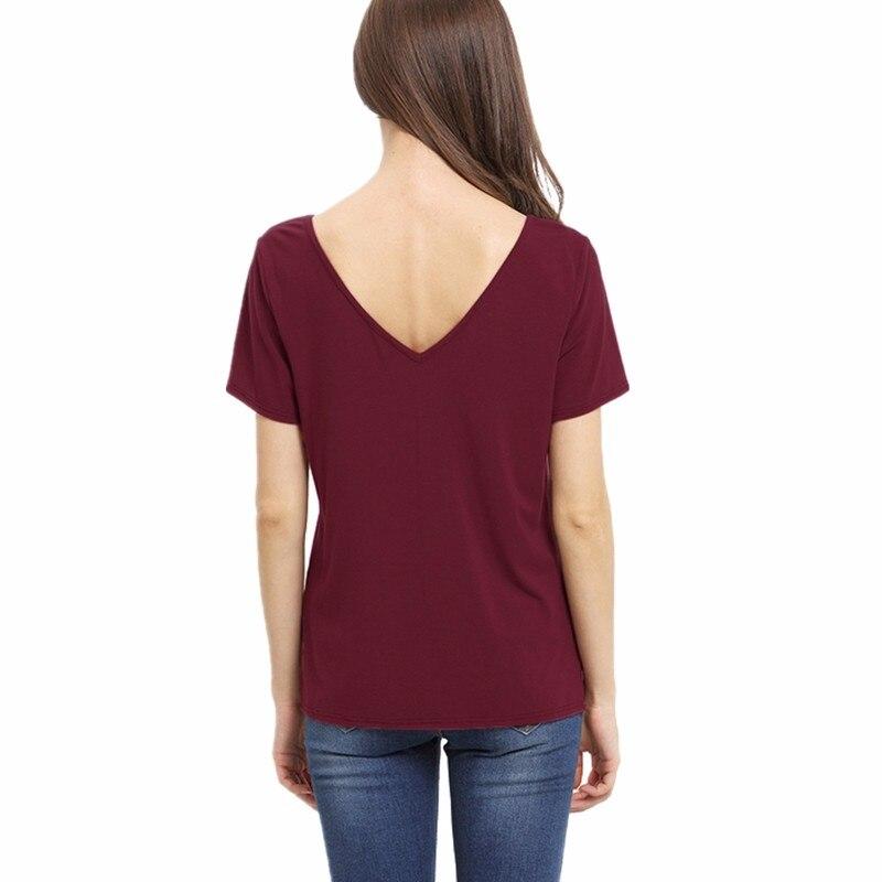 HTB1v .GMVXXXXXOapXXq6xXFXXXi - Bandage Sexy V Neck Criss Cross Top Casual Lady Female T-shirt