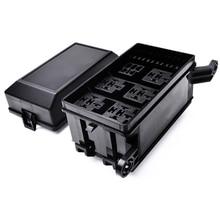 12-Slot Relay Box 6 Relays 6 ATC/ATO Standard Fuses Holder Block with 41pcs Metallic Pins Universal