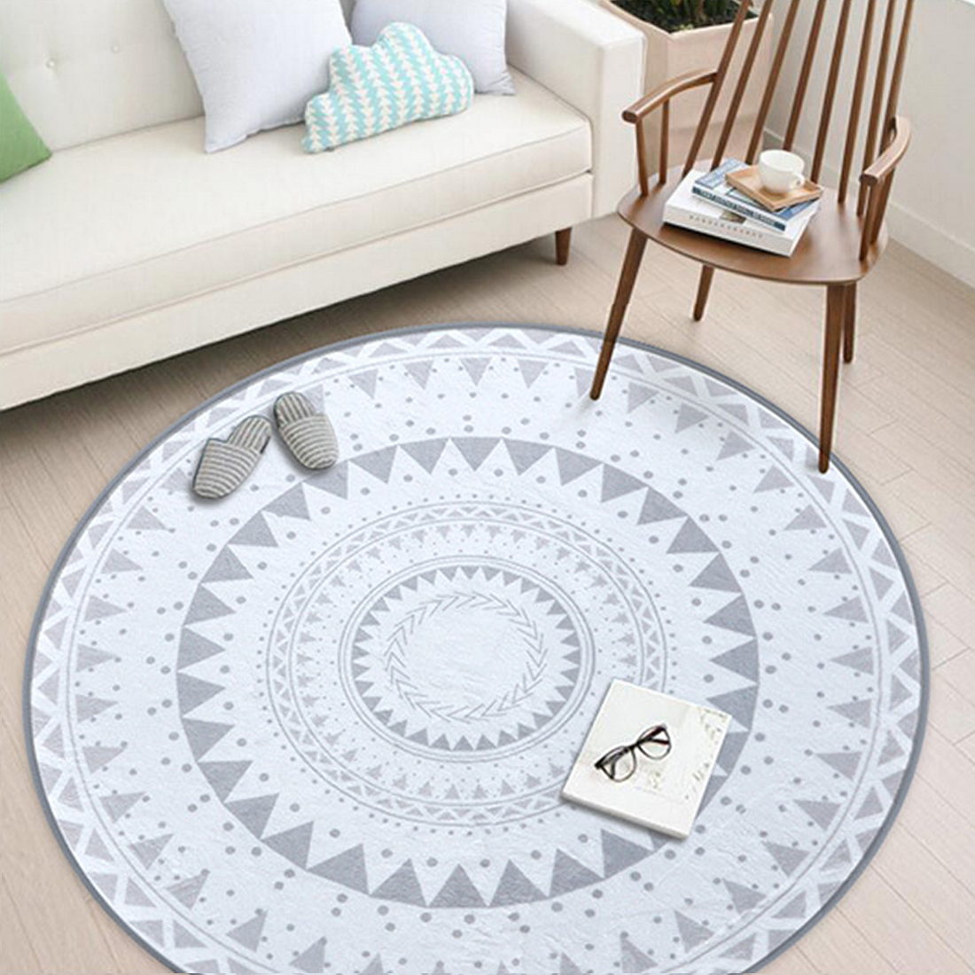 Us 7 75 18 Off Nordic Gray Series Round Carpets For Living Room Computer Chair Area Rug Children Play Tent Floor Mat Cloakroom Rugs And Carpets In