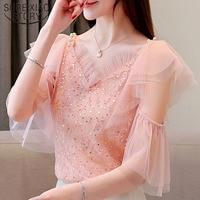 189a0f1a9 2019 Short Sleeve Sequin Mesh Lace Blouse Women S Shirt Summer Blouses  Women Off Shoulder Top