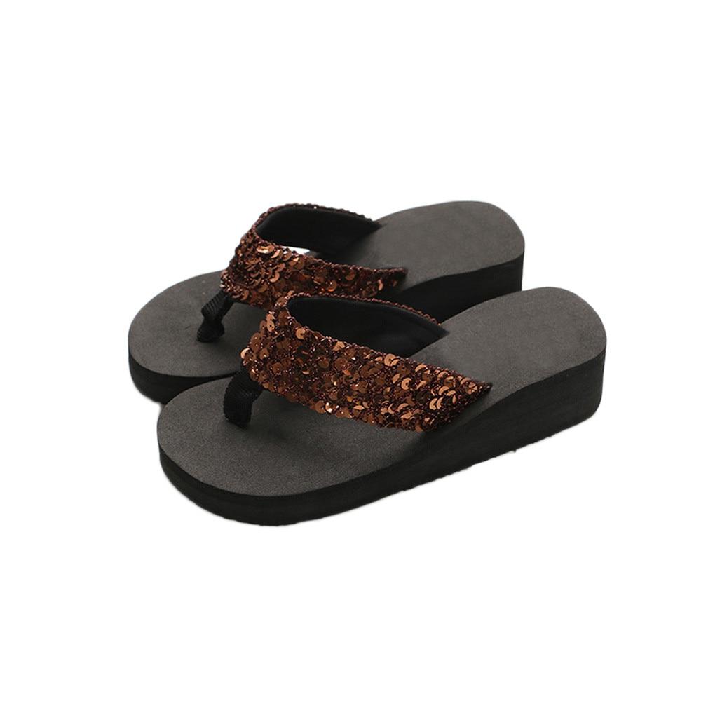 HTB1v .dX2Bj uVjSZFpq6A0SXXaX Summer Women Flip Flops Casual Sequins Anti-Slip slippers Beach Flip Flat Sandals Beach Open Toe Shoes For Ladies Shoes #L5