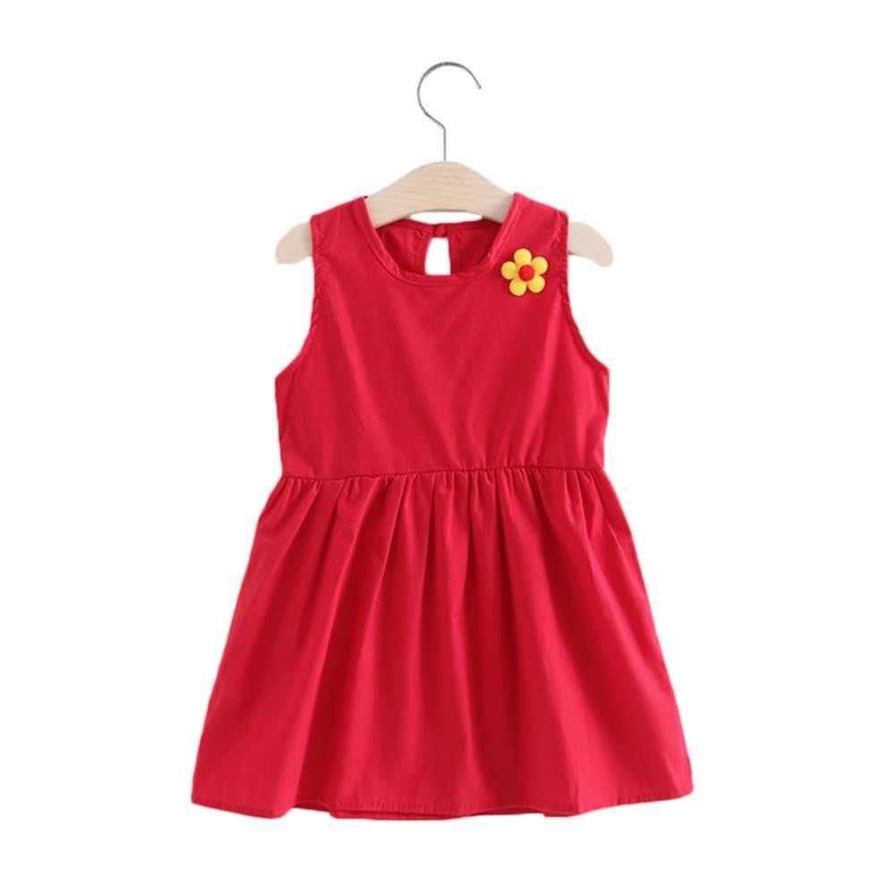 Kız Elbise 2019 Katı Renk yaz elbisesi Çiçek Karikatür Kore Sevimli Prenses Elbise Kız Bebek Sevimli Çiçek Elbise