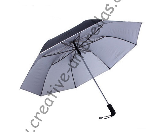 Dubbele brug honing graf fiberglass twee vouw auto open auto dicht zakelijke golf parasols. Hex-hoekige 70 T staal anti UV parasols