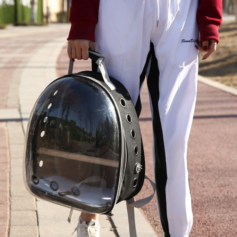 Pet Parrot Carrier Bird Travel Bag Space Capsule Transparent Backpack Breathable 360 Degrees Sightseeing