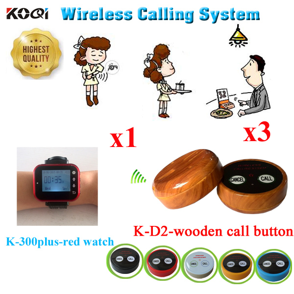 Wireless Pager System Wireless Waiter Call Bell Restaurant Equipment Waiter Buzzer Discount Price 1pcs Watch+3pcs Call Bell title=