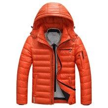 Сверхлегкий плюс размер повседневная куртка марка 1 сплошной цвет вниз пальто стоять воротник с капюшоном верхняя одежда мужская куртка зимняя одежда