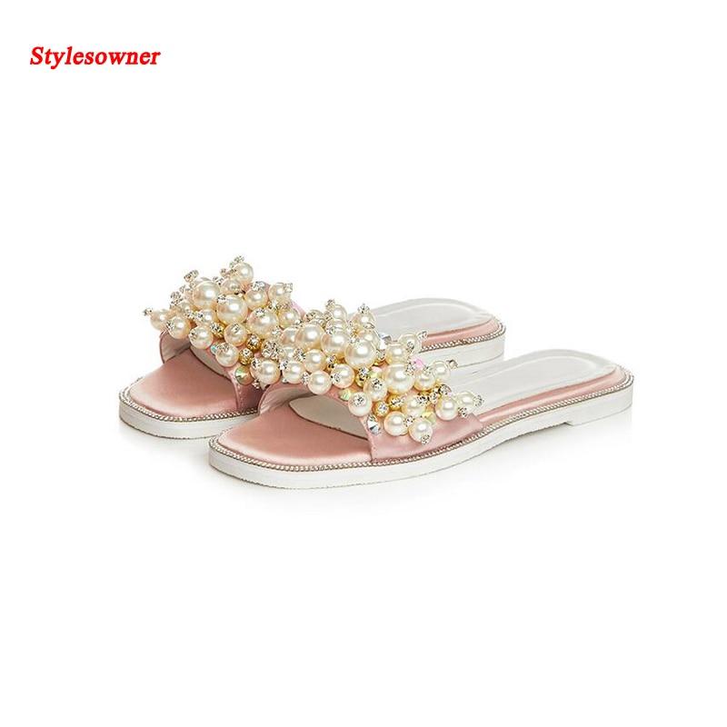 100cd964049b6 Stylesowner summer new style slipper Satin diamond pearl sandals open Toe  Flat sweet female slippers Bling Bling Luxury Slipper