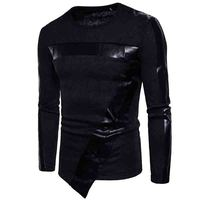 HOT 2019 spring autumn fashion man spell leather irregular base t shirt sweater streetwear base t shirt crossfit pullover