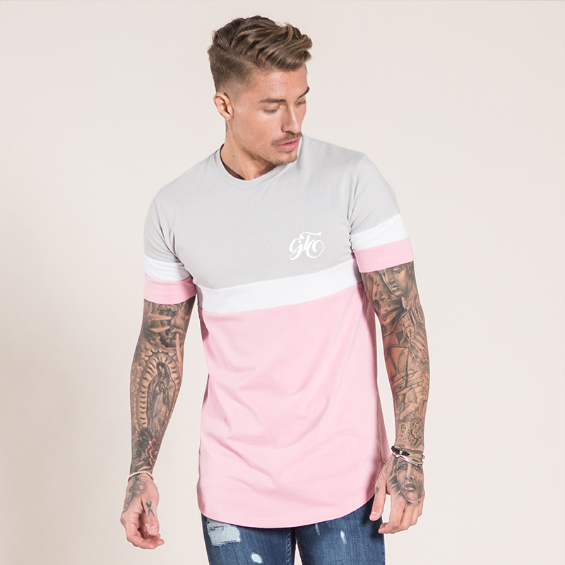 Gingtto Men T shirts Pink White Tee Signature Curve hem Chest Logo Stretch Designer Stre ...