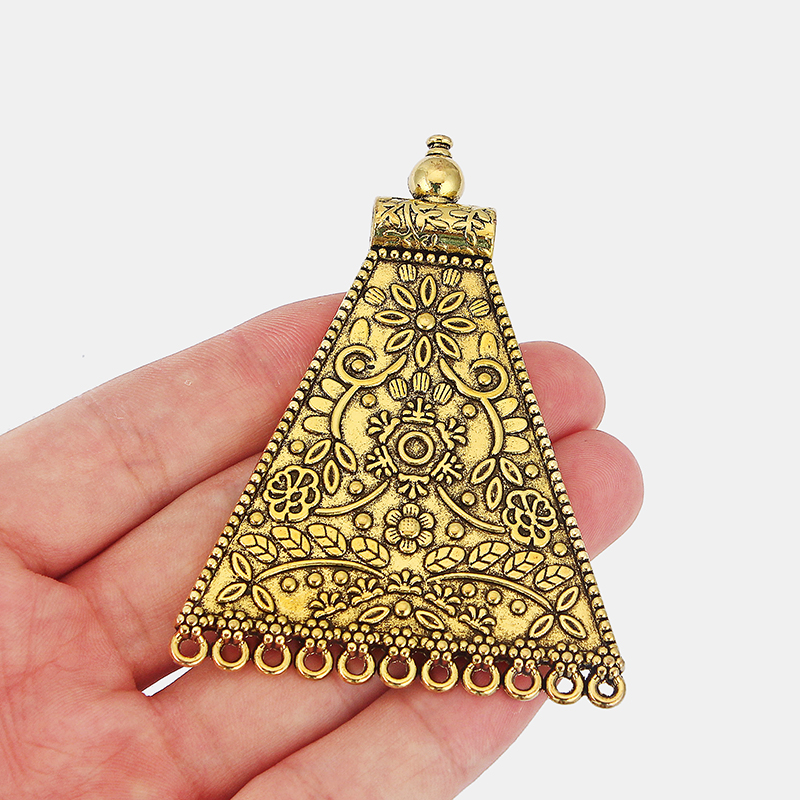 3pcs Antique Gold Large BOHO Bohemia Embossed Flower Pendant Connector For Necklace Jewelry Making Findings 80 60mm in Pendants from Jewelry Accessories