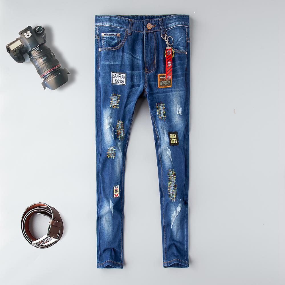 Mid 2019 Skinny Jeans Men European Style Men's Tiger Skull Embroidery Stretch Casual Holes Distressed Denim Pants Full Length