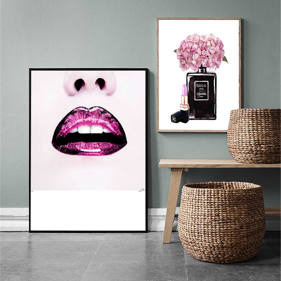 Decoracion Cuadros Salon Us 5 6 30 Off Cuadros Decoracion Fashion Posters And Prints Salon Red Lips Canvas Paintings Picture Nordic Wall Art Pictures For Living Room In