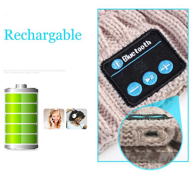 JINSERTA Soft Fashion Warm Hat Wireless Bluetooth Headset Headphone Smart Cap Speaker with Mic Bluetooth Hat