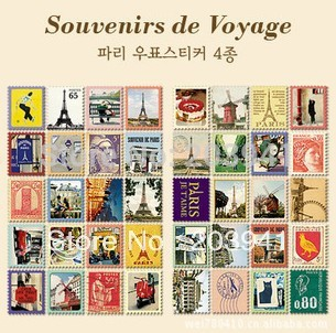 4sheets/lot Vintage Love In Paris Folding Stamps Stickers DIY Multifunction Sticker Stiker Label Lovely Home Decoration Label