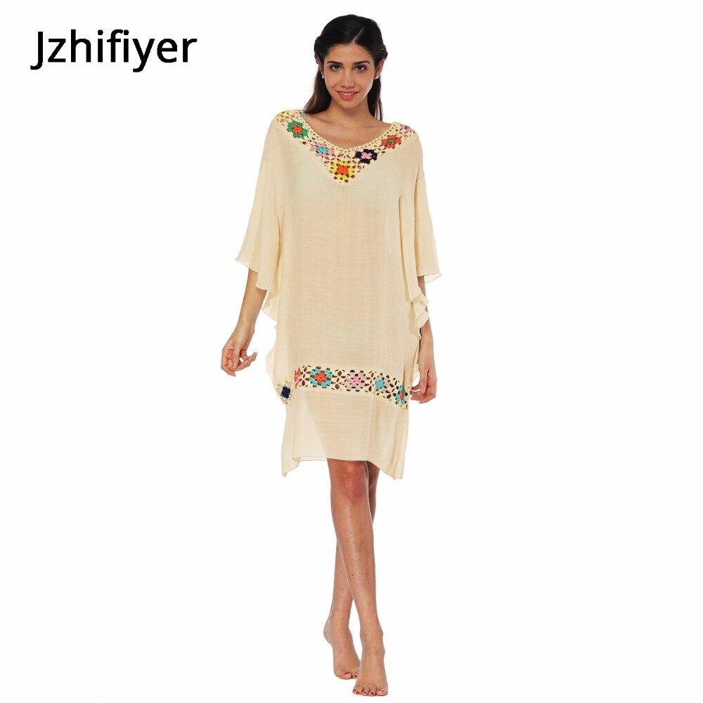 bohemia loose dress women kaftan sundress crochet neck floral vintage pareo beach cover cotton dress sarong fashion top plain in Dresses from Women 39 s Clothing