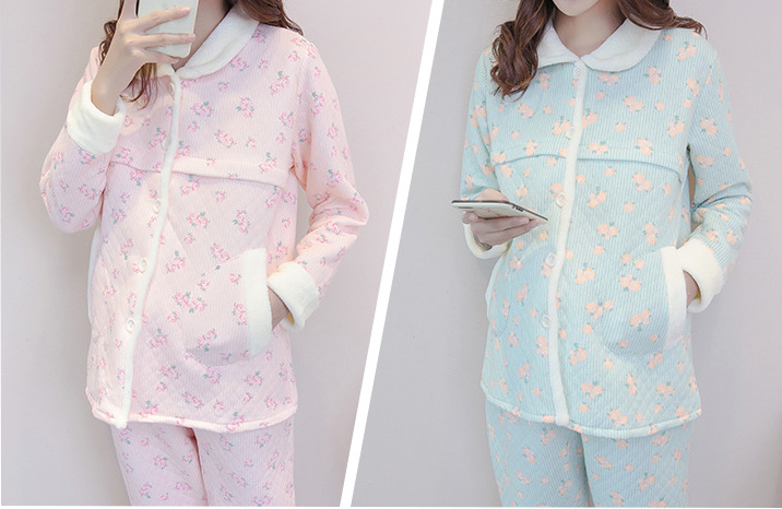 Flowers spring autumn Winter Lovely Maternity Clothing Pyjamas Pregnancy Breast-Feeding Home Wear RETAIL 1AS710-28R
