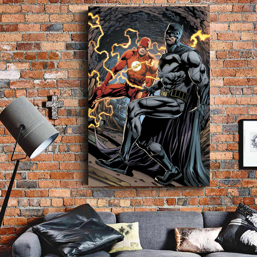 Home Prints Painting 1 Panel Poster Batman Flash Pictures Wall Art Superhero Comic Modular Canvas Decor Bedside Background