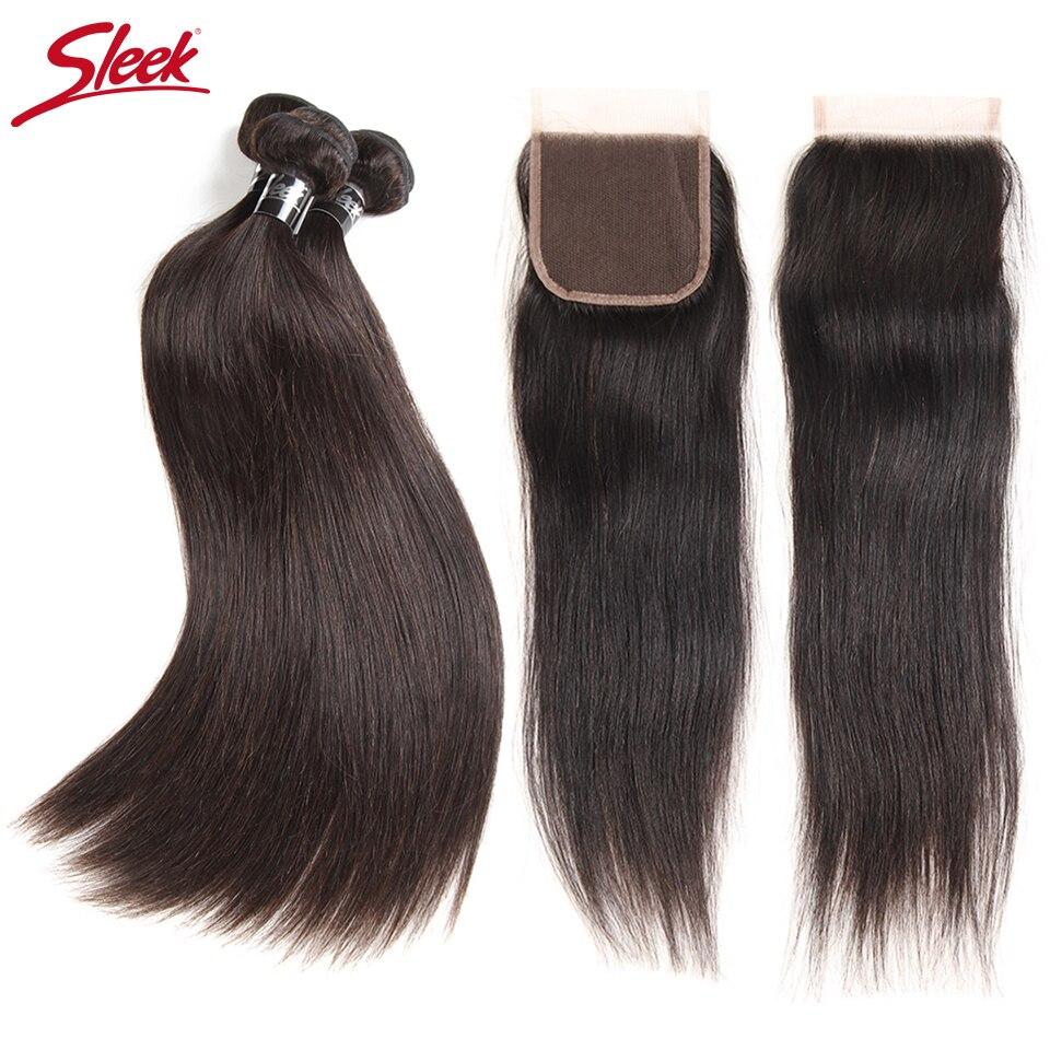 Sleek 8 To 30 Inch Hair Extension Brazilian Straight Mink Hair Bundles With Closure Human Hair Weave 2 3 4 Bundles With Closure