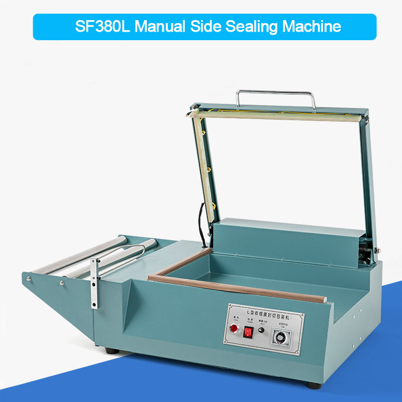 Sleeve sealing machine, plastic wrap sealer, shrinking film sealing machine, PVC wrap sealer, L-type side sealer SF380L wrapping gathered sleeve surplice wrap dress