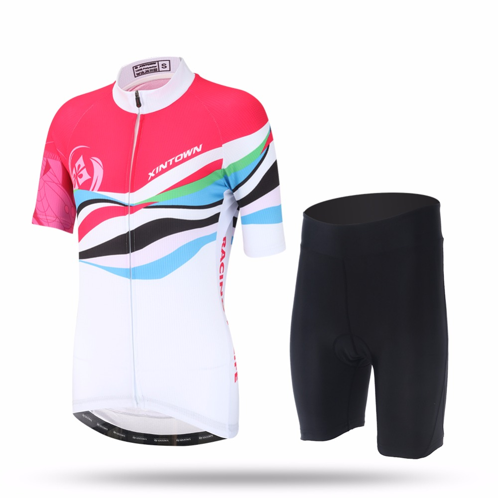 XINTOWN Women Sweat Short Sleeve Cycling Jersey Set Refreshing MTB Bike Clothing Bicycle Jerseys Female Pro Road Clothes