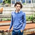 Pioneer camp 2017 novas camisolas dos homens famouse marca puxar homme pullover homens casuais lazer camisa hombre algodão com decote em v plus size