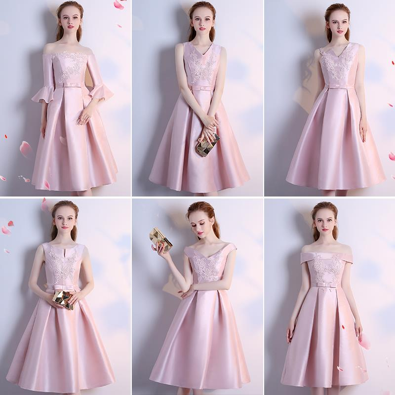 Sleeveless Knee Length Wedding Party Dress Pink Gray Red Elegant Formal Party Dress Silk Summer Style Vestidos Dress for Wedding