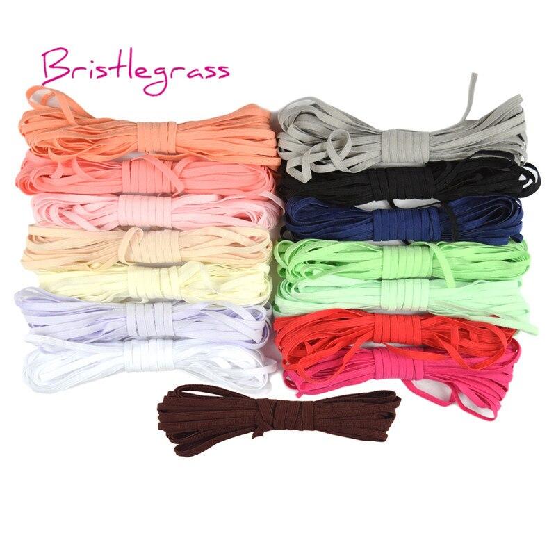 BRISTLEGRASS Wholesale 100 Yard 4mm Knitted Solid Skinny Elastic Spandex Band Hair Tie Headband Tutu Dress DIY Sewing Trim Craft