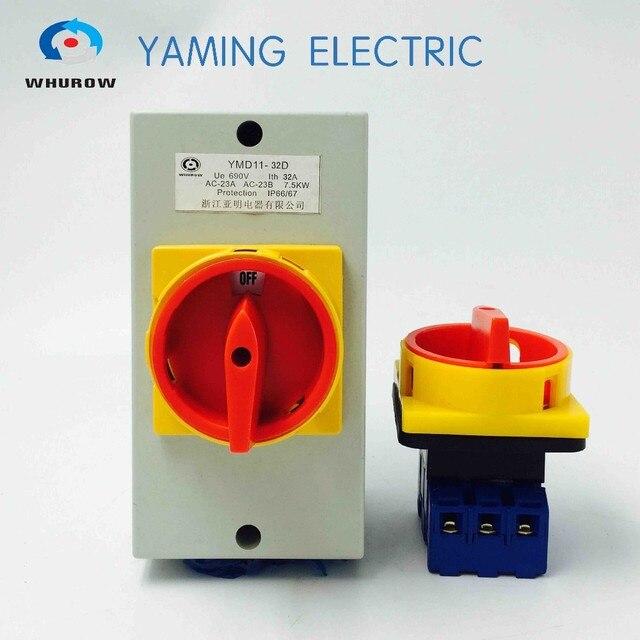 YMD11 32A 440 v mit box niederspannungs lasttrennschalter rotary cam umschalter manuelle trennschalter klima conditoning system und pumpe system