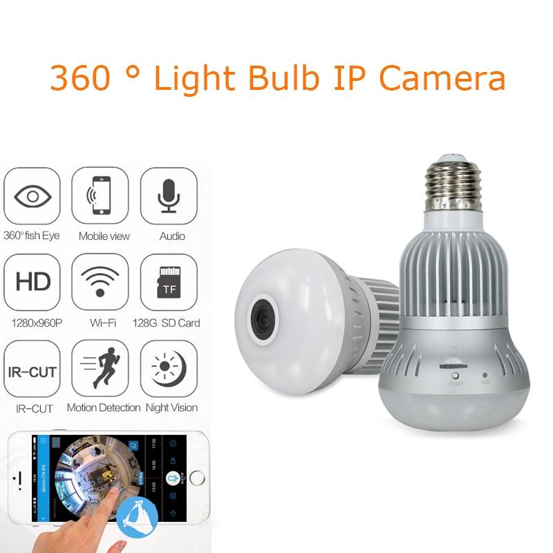 BabyKam Light Bulb Camera IP Fisheye 960P 360 Degree Full View CCTV VR Camera 1.3MP Home Surveillance Wi-fi Camera Panoramic light bulb camera vr 360 degrees wifi3d fisheye panoramic light camera network led