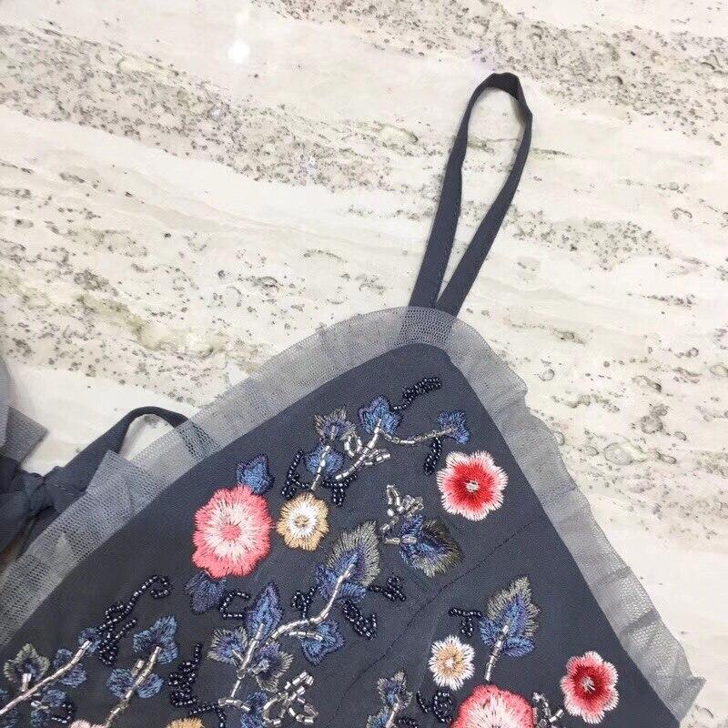 Mi 2018 Robe cou Sexy Perles Broderie Lourd Fleur Bretelles V Nouvelle Mesh Lady Style mollet Mode Fée HqOxHrT