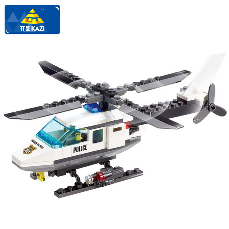 KAZI Hot Building Blocks Police Station Building Blocks 102pcs Helicopter Model Blocks Educational Playmobil Toys For Children kazi 6726 police station building blocks helicopter boat model bricks toys compatible famous brand brinquedos birthday gift