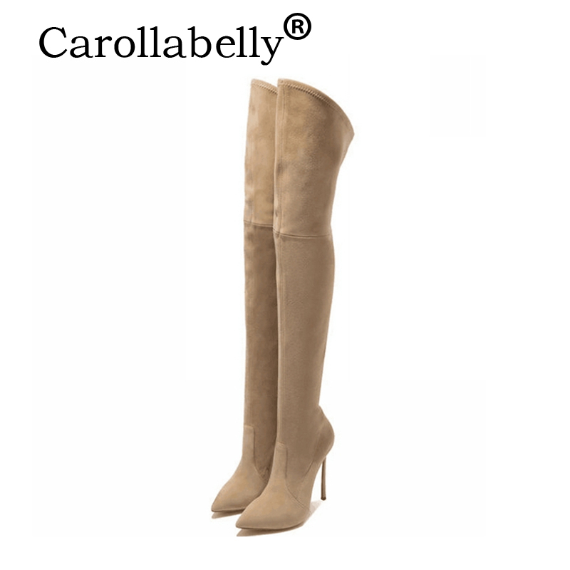 Carollabelly Slim Boots Sexy over the knee high Suede women boots women's fashion winter thin high boots shoes woman nasipal 2017 new women pu sexy fashion over the knee boots sexy thin high heel boots platform woman shoes big size 34 43 g804
