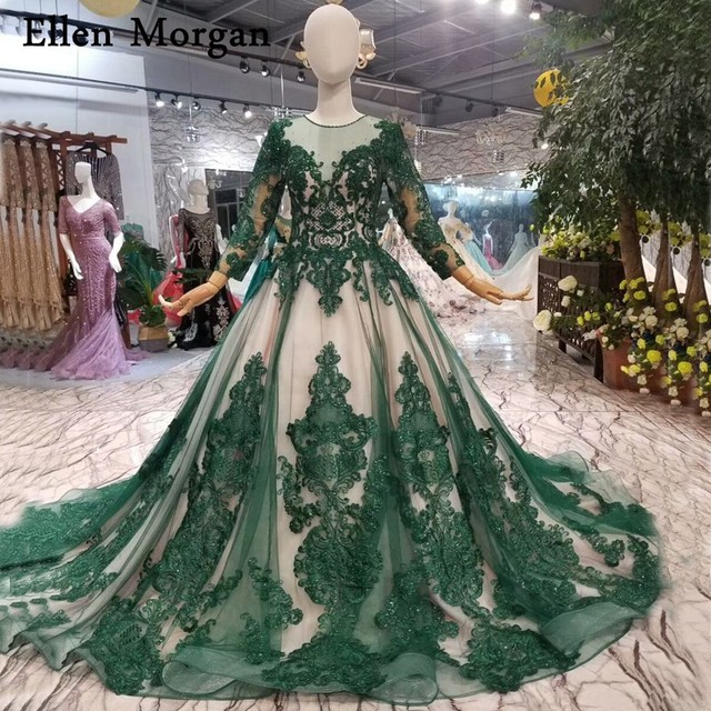 Dark Green Glitter Wedding Dresses for Women Long Sleeves Lace Beaded Pearls Vintage Contrast Color Ball Gowns Bridal Gowns 2018