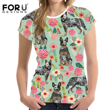 FORUDESIGNS Funny Australian Cattle Dog Printed Women T Shirt Ladies Florals Cream Pattern T-shirt for Females Cute Puppy Tops