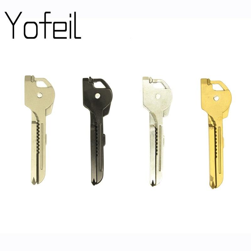 Utili-Key 6 In 1  Mini Multitool Keyring Pocket Stainless Steel Knife Folding Camping Outdoor Knife Swiss Tech EDC Equipment