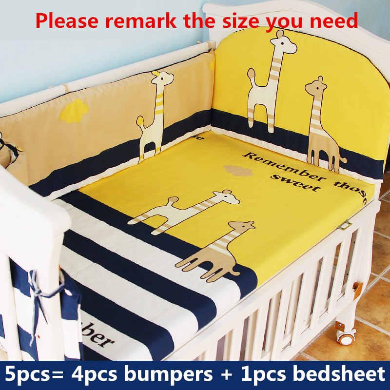 Хлопок детские постельные принадлежности для кроватки 5 шт./компл. детское постельное белье для новорожденных девочек и мальчиков 1 простыня + 4 Детская кроватка бамперы с наполнителем дропшиппинг