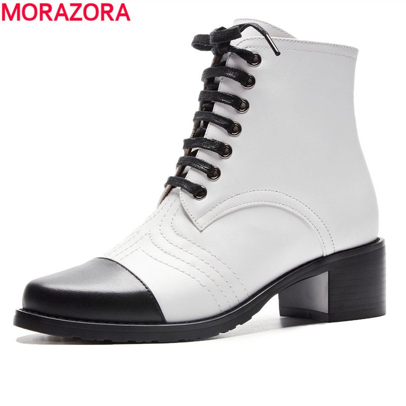 MORAZORA 2018 mixed colors new fashion womens shoes genuine leather  boots lace up round toe autumn ankle boots ladiesMORAZORA 2018 mixed colors new fashion womens shoes genuine leather  boots lace up round toe autumn ankle boots ladies