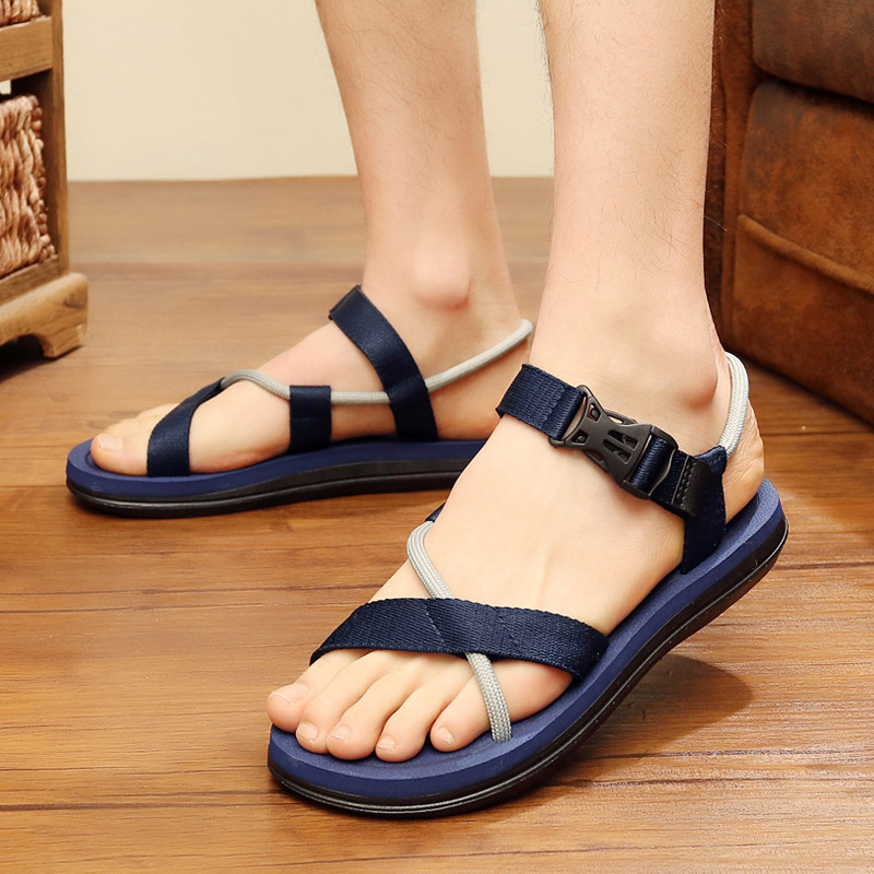 Fashion Men Mixed Colour Buckle Design Flat Sandals Casual Male Summer Beach Shoes Non-slip Comfortable Open Toes Slippers Z164