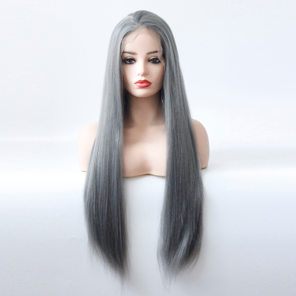 Long Gray Straight Synthetic Lace Front Wig Dark Grey Soft Natural Hairline Heat Resistant Glueless Synthetic Hair Wigs-4