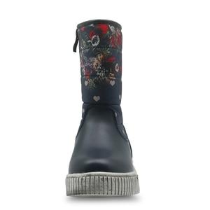Image 2 - Apakowa bottes de neige pour filles, chaussures plates imperméables, pour mi mollet, chaussures chaudes en laine avec fleurs